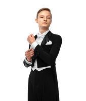 Ballroom dancer in tuxedo with bow tie
