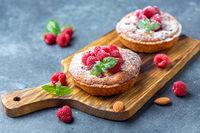 Delicious raspberry mini tarts (tartlets).