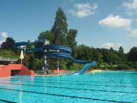 Municipal outdoor pool with waterslide