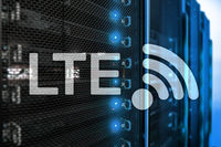 LTE, Wireless Business Internet and Virtual Reality Concept. Information Communication Technology on a server background.