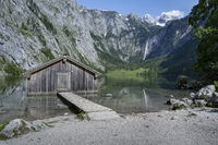 Schuppen am Obersee in Bavaria, Germany, in summer