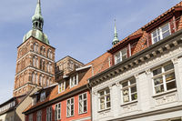 St. Nicholas  Church with old houses. Stralsund, Germany