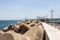 Seaside with Breakwater of Mukho Port, Donghae City, Gangwon Province, South Korea, Asia.