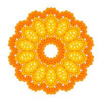 Yellow Ornamental Line Pattern. Round Texture Oriental Geometric Ornament