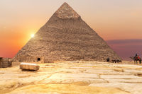 The Pyramid of Chephren in the rays of sunset, Egypt