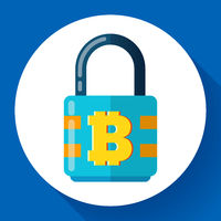 Lock with bitcoin symbol icon, cryptocurrency cyber security concept, private information, vector illustration.