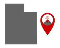 Karte von Utah mit Anzeiger für Vulkan - Map of Utah with volcano locator