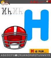 letter H worksheet with cartoon helmet