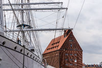 Museum ship Gorch Fock in the harbour of Stralsund