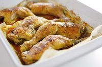 Roasted Chicken Drumsticks in a Roasting Pan