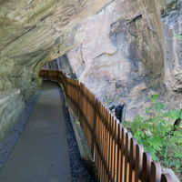 the Tamina Valley Gorge and thermal spring water in the Swiss Alps