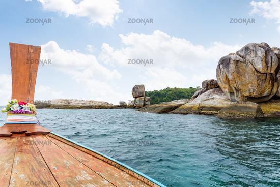 Ko Hin Sorn island and prow in Thailand