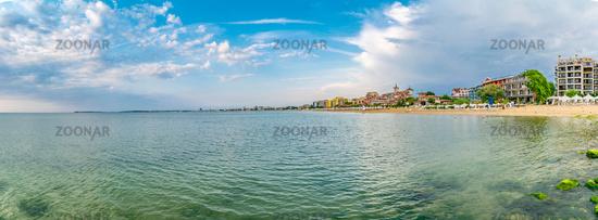 Panorama of the  Sunny Beach on the Black Sea coast of Bulgaria. Panoramic view.