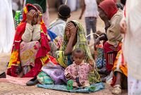 orthodox christian at worship on street of Ethiopia