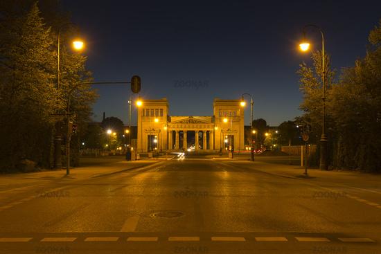The Propyläen on the Königsplatz in Munich at night