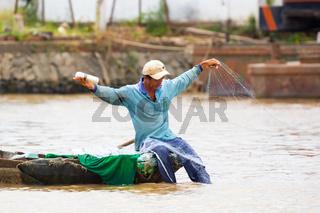 Vietnamese Fisherman with Net