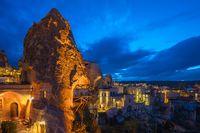 Kapadokya city skyline at night in Turkey
