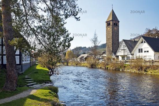 River Lenne and village Saalhausen, Lennestadt, Sauerland, North Rhine-Westphalia, Germany, Europe
