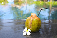 Green coconut with a straw on the edge of a pool