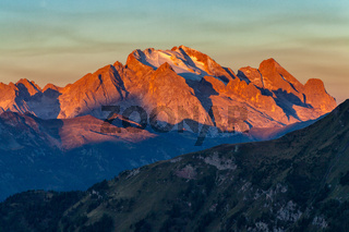 Colorful sunrise over Marmolada, the highest mountain in the Dolomites
