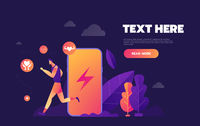 Isometric flat vector concept of fitness tracker, smart watch,smart phone sport and healthy lifestyle. - Vector illustration.