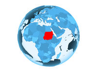 Sudan on blue globe isolated