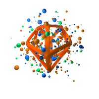 3d illustration of flying realistic primitives. Spherical shapes in motion isolated on white background oround polygonal wired molecular structure. Abstract theme for your trendy designs in blue, green and orange colors. conceptual composition