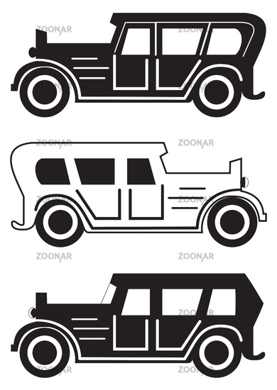 Set of different retro car silhouettes