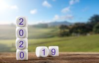 Blocks spelling 2020 on wooden table with sunlit landscape in background