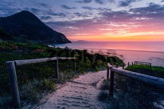 Path to beach and beautiful sunrise Australia