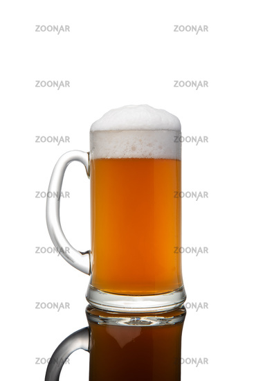 Beer mug with foam isolated on white background