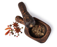 Mortar And Pestle With Pepper And Spices
