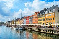 Nyhavn embankment in sunshine, Copenhagen