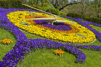 Flower clock, l'horloge fleurie, at the park Jardin Anglais, Geneva, Switzerland