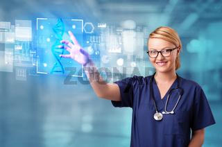 Doctor touching screen with biology and genetic concept