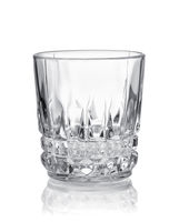 Front view of empty crystal cut shot glass