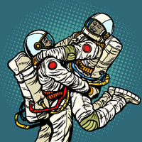 couple in love astronaut man and woman. love romance hugs