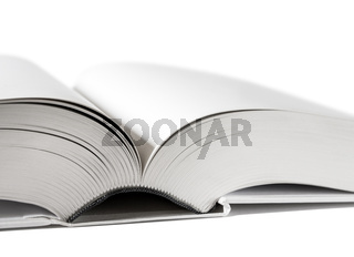 Open blank dictionary, book on white background