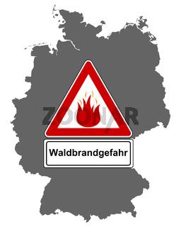 Karte von Deutschland mit Warnschild Waldbrandgefahr - Map of Germany and traffic sign forest fire