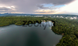 aerial of South Carolina Lake Jocassee Gorges Upstate Mountains
