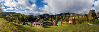 Panoramic view on the streets and houses of the most frequented mountain and ski resorts