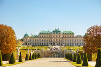 Belvedere palace in Vienna, Austria in the morning
