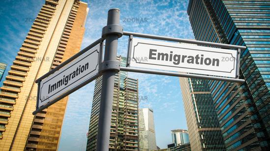 Street Sign Emigration versus Immigration