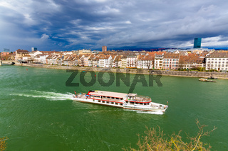 The ferry follows the Rhine River in the city of Basel, Switzerland