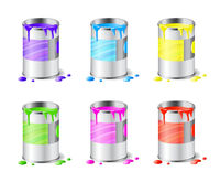 Big set of open metal paint cans with color paint and drops isolated on white