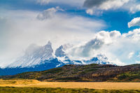 Landscape with snow capped Cuernos Del Paine mountain at Torres del Paine National Park in Southern