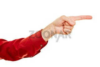 Mann zeigt mit Zeigefinger