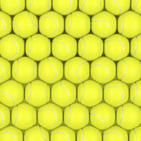 Rows with tennis balls