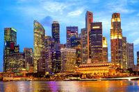 Singapore downtown core illuminated night