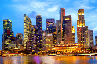 Singapore downtown core illuminated night